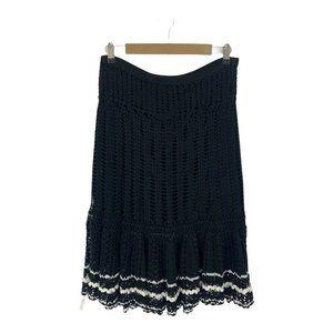 Cynthia Steffe Cotton Black White Trim Crochet Skirt